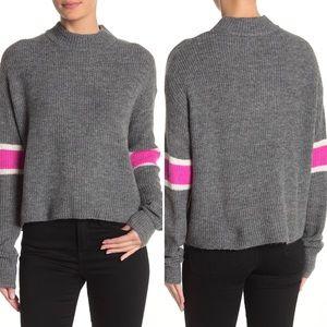 NWT John+Jenn Varsity Stripe Mock Pullover Sweater